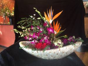 Orchid & bird of paradise centerpiece
